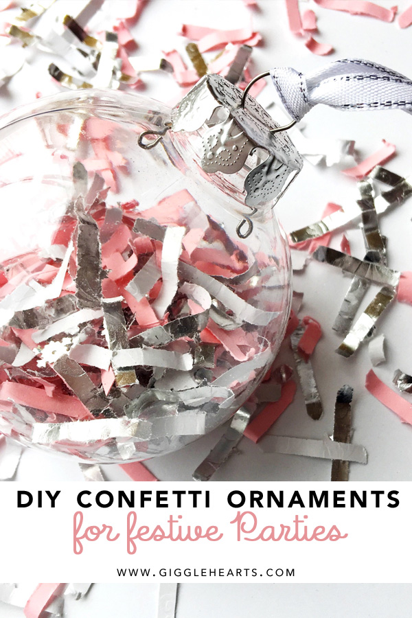 Celebrate your next holiday party, bridal shower, wedding or baby shower with a DIY Confetti Ornament that your party guests will love. Write your guests name on the ornament for a place card that becomes the take home party favor and gift.Click to see how to create your very own personalized DIY Confetti ornaments for your festive parties. As seen on Giggle Hearts www.gigglehearts.com