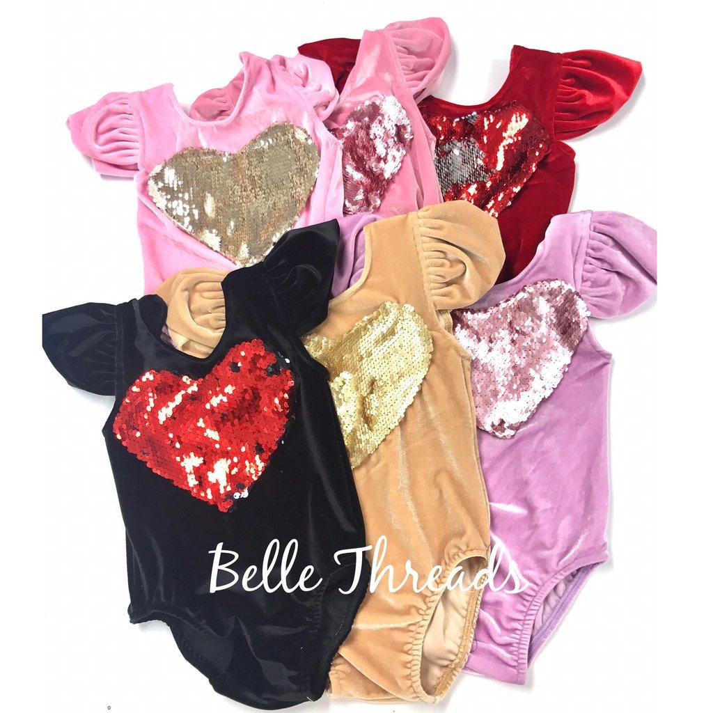Reversible sequin heart Valentines Day Velvet Leotard, Velvet Leotards for Valentines Day Girl Outfits