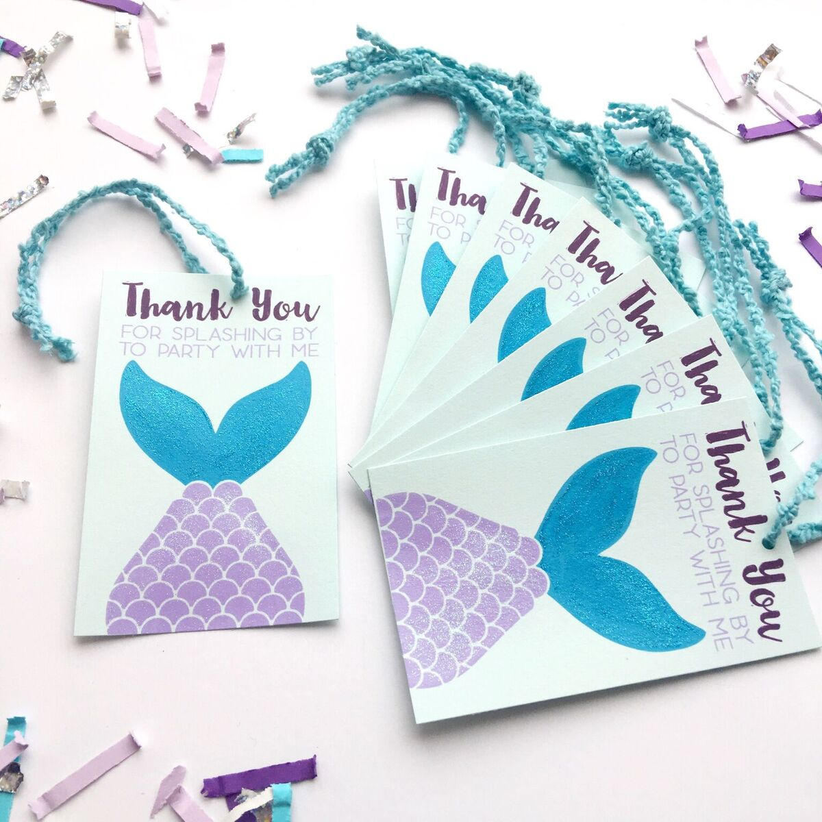 Mermaid Party Favor Tags - thank you for splashing by to party with me