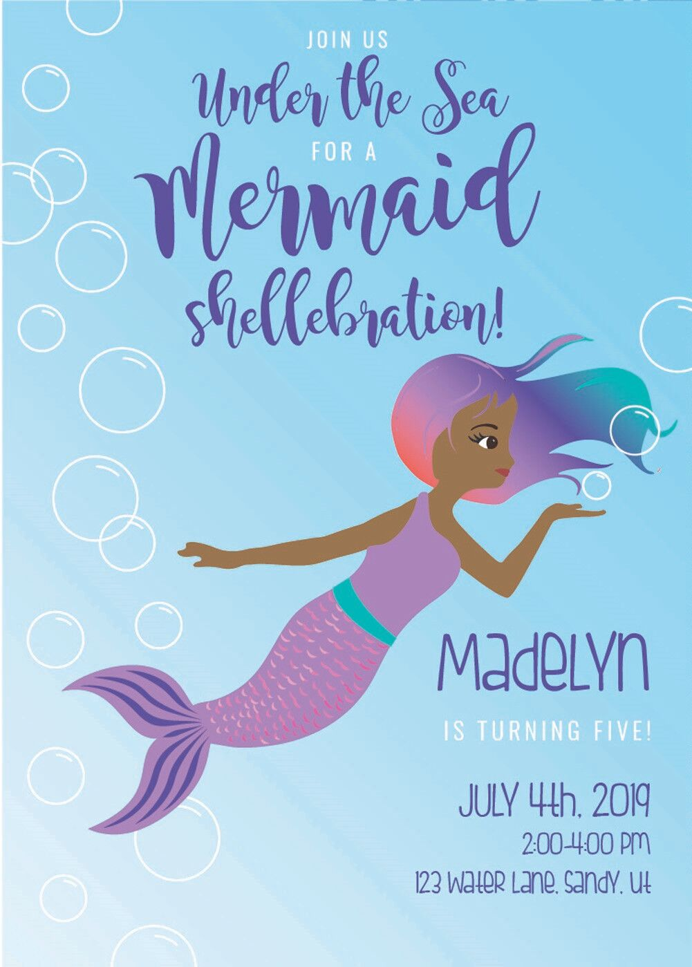 Printable Mermaid Themed Party Invitation - an instant download