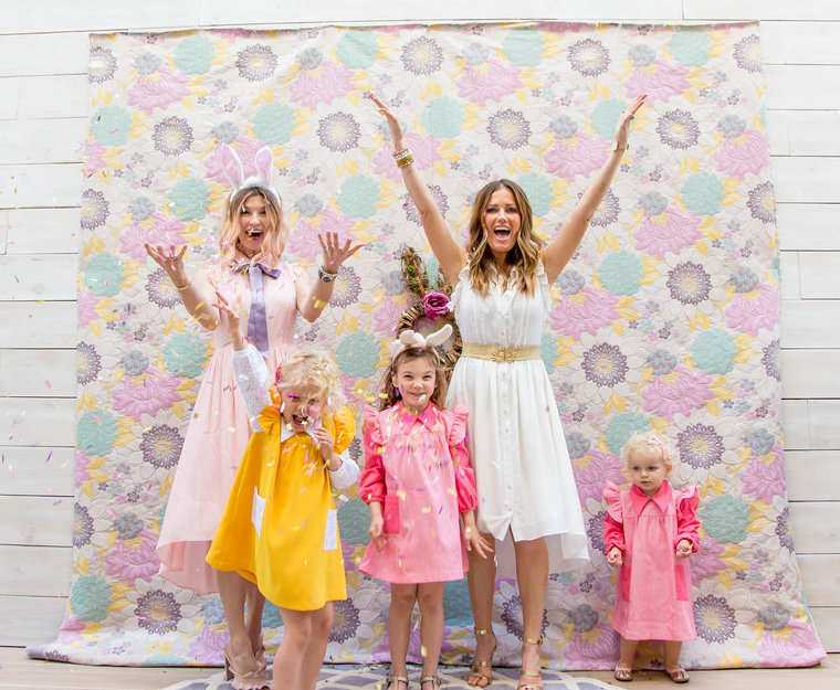 Fun Easter Celebration Photo Shoot with a Confetti Toss and Pretty Easter Dresses