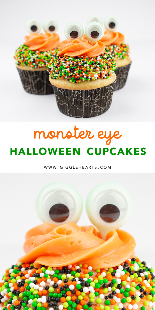 All the details to create these Monster Eye Halloween Cupcakes from Pigskins & Pigtails can be found on the blog at Giggle Hearts. The most creative use of a novelty item was used to make the eyes - come see what it is and create this Halloween Dessert your kids will love. Click for the Monster Eye Halloween Cupcakes Recipe #halloween #halloweencupcakes #halloweendesserts #halloweenparty #kidsfood #halloweentreat