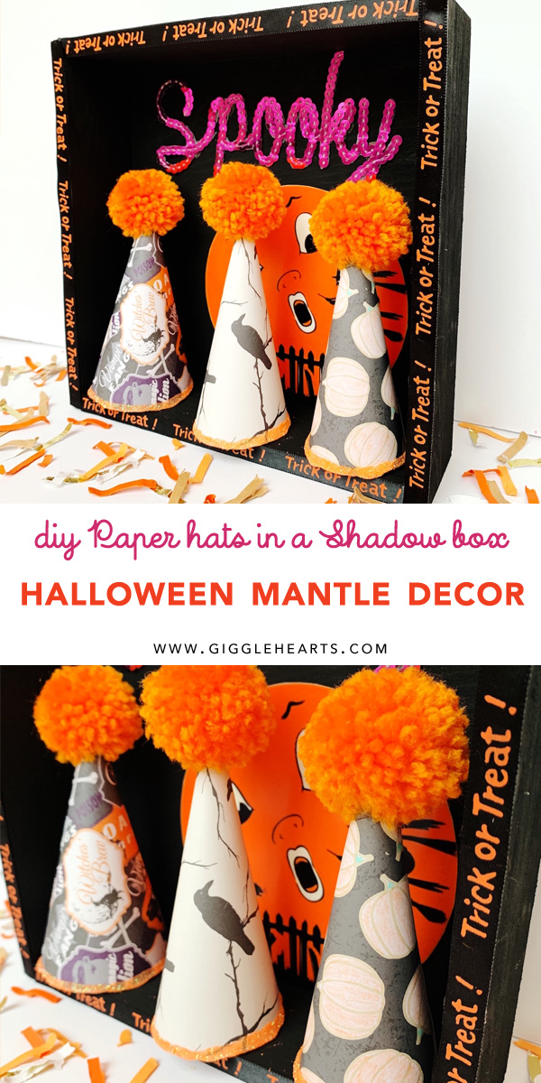 Find out how to create these DIY Halloween Paper Party Hats for your Halloween Decorations. This cute Halloween Shadow Box is perfect for your Halloween Mantle Decor. See more on Giggle Hearts www.gigglehearts.com #halloweendecorations #halloween #halloweencrafts #diycrafts #halloweendecor