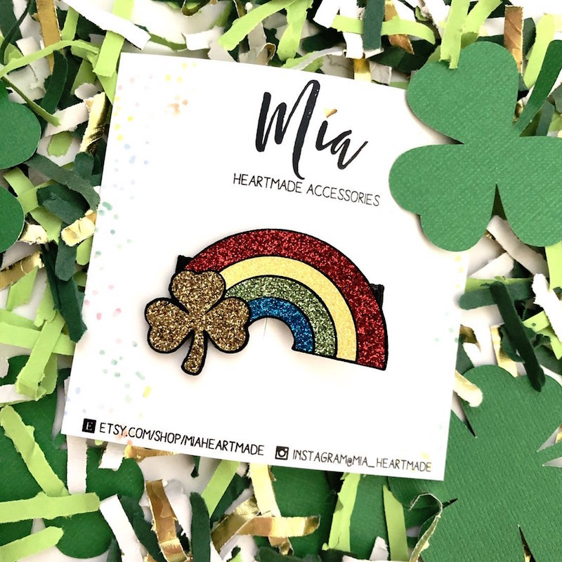 A glittered rainbow and gold clover hair clip for St. Patrick's Day - from Mia Heartmade Accesories on Etsy. Click for more lucky hair accessories + Photo Styling Tips for Etsy Artists