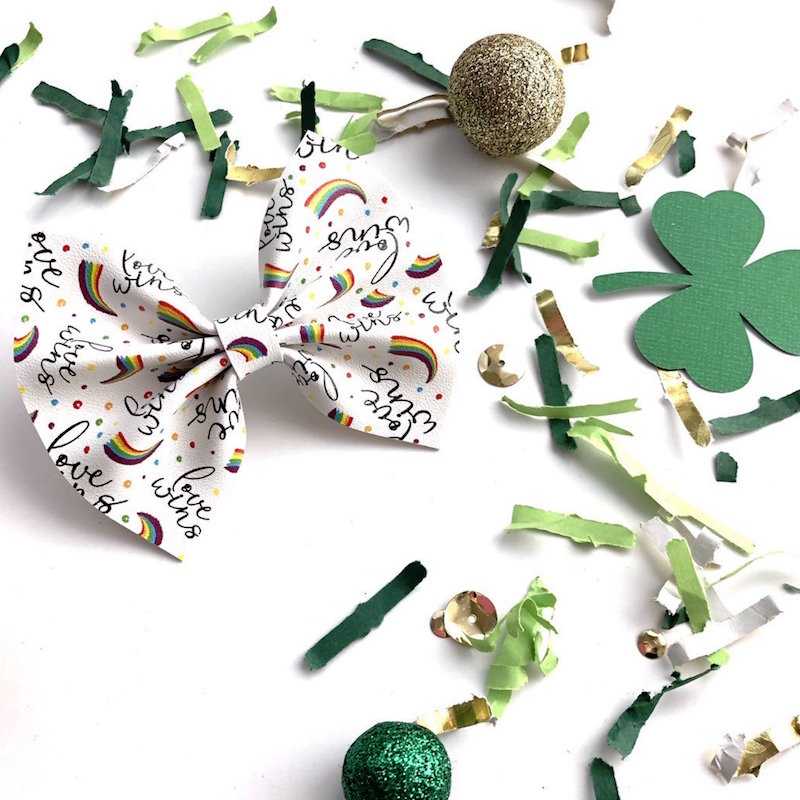 A Love Wins Hair Bow Clip for St. Patrick's Day - from Mia Heartmade Accesories on Etsy. Click to see more lucky hair accessories for Saint Patricks Day + Photo Styling Tips for Etsy Artists