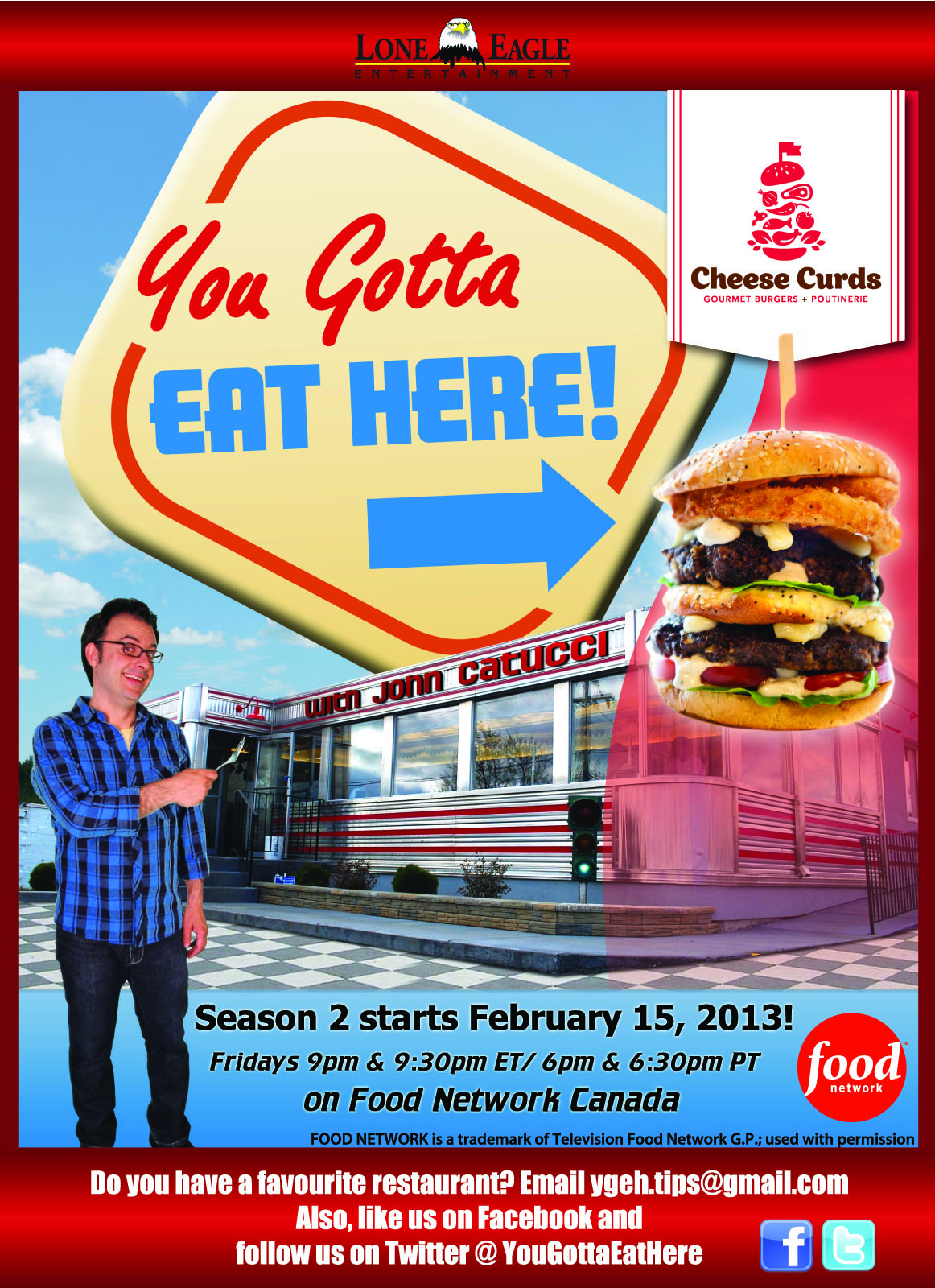 Check out our inaugural TV debut on the popular Food Network Canada program; You Gotta Eat Here!