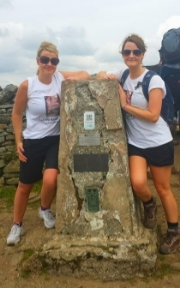 Kerri and her sister at the top and still smiling!