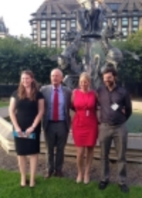 Barry Sheerman MP with the trustees outside the Houses of Parliament.