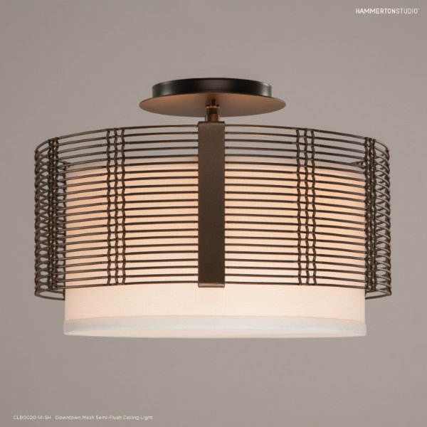 Embrace an industrial-chic look with a semi-flush ceiling chandelier from Hammerton Studio's Downtown Mesh Collection.