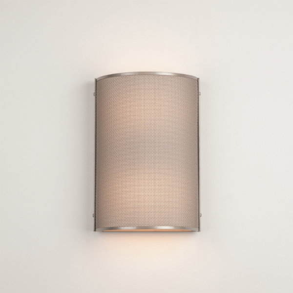 Uptown Mesh cover since in metallic beige silver finish, with frosted glass diffuser.