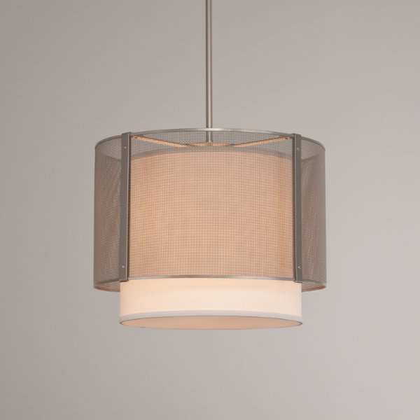 Uptown Mesh drum pendant with linen shade, in metallic beige silver.
