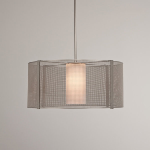 Uptown Mesh drum pendant with frosted glass cylinder, in metallic beige silver finish.