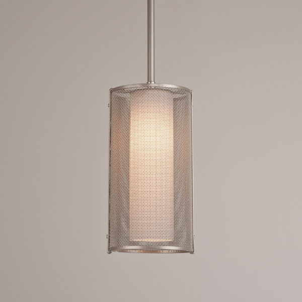 Uptown Mesh pendant in metallic beige silver, with frosted glass cylinder.