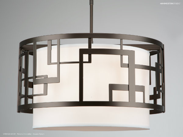 Modello Square Pattern chandelier with a flat bronze finish.