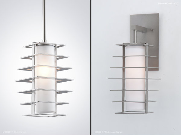 Skyline pendant and indoor wall sconce with a Metallic Beige Silver finish.