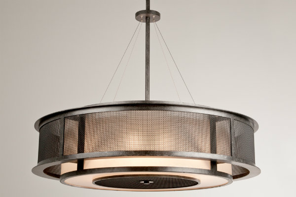 Fine mesh and a dark finish give this double drum design an upscale industrial feel.