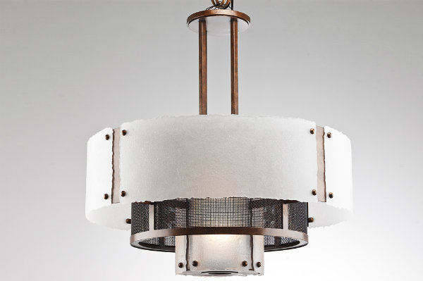Frosted glass and fine mesh takes this contemporary telescoping drum design to the next level.