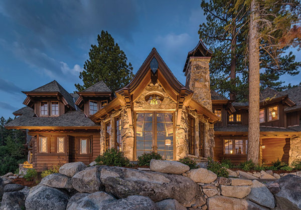 This lakefront winner of Tahoe Magazine's 2014 Mountain Home Award boasts authentic lodge style architecture by Dennis E. Zirbel, magnificently brought to life by Robert Marr Construction. Source: Tahoe Quarterly