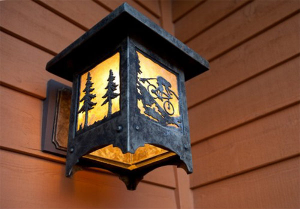 Mountain biker motifs can enhance the design of your custom light fixtures, both indoors and out.