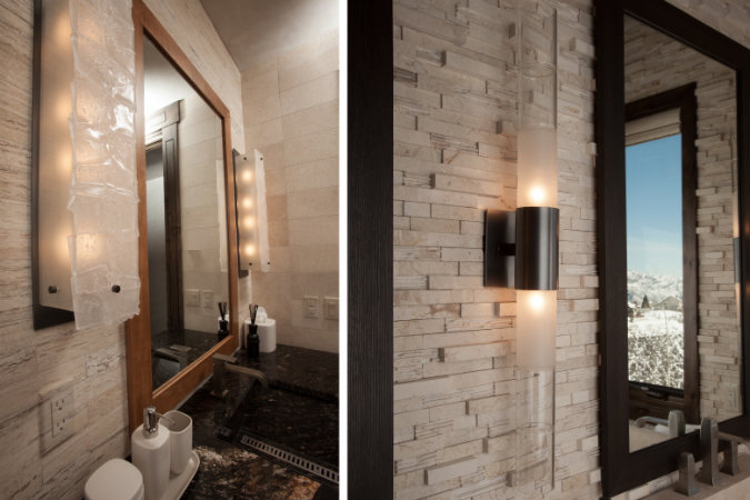 Textured glass (left) and bamboo-shaped glass cylinders (right) both add organic elegance and an artisan's touch to these bath fixtures.