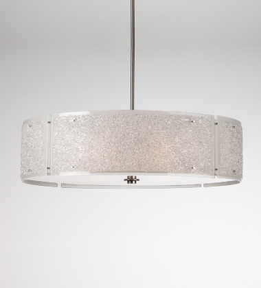 Also from Hammerton Studio, the Rimelight collection features glittering panels of kiln-fused glass in three colors. Our 'Frosted' color, shown here, offers a versatile, elegant lighting solution for any contemporary interior.