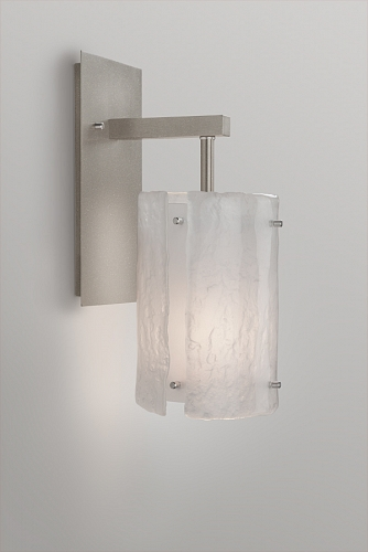 An indoor sconce from the Hammerton Studio Textured Glass collection, also in Granite.