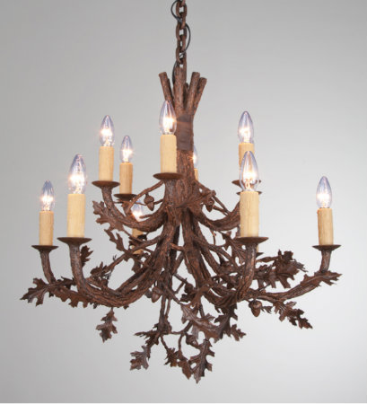 Thanks to the sculpting talents of our artisan team, this gorgeous organic chandelier design boasts incredibly lifelike oak branches with realistic leaves and acorns.