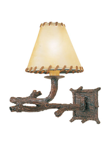 You'd have to touch this sconce yourself to confirm its metal composition and rawhide lampshade.