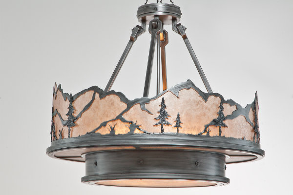 This rustic-chic chandelier features textured trees and is shaped by a rugged mountain range for a unique and contemporary twist.