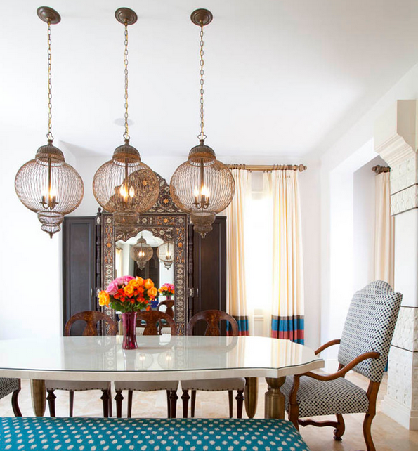 Moroccan Dining Room lanterns from the Laura U Collection Source: Laura U Inc. via Houzz
