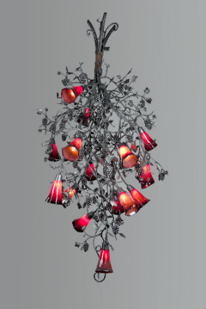 Perfect for making a statement in a dining room or wine cellar, this magnificent chandelier design with a grape vine motif features custom-blown art glass shades.