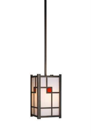 A bold stained glass accent provides an eye-catching Frank Lloyd Wright-inspired pop of color to this geometric pendant.