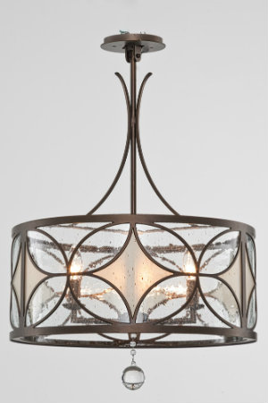 This stunning custom Chateau chandelier is crafted from stenciled panels of seeded and frosted glass set against an elegant geometric pattern created with a matte black-finished steel framework. The blown glass bauble dangling from the bottom of the fixture adds a touch of glamour.