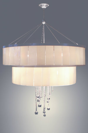The panels of this shimmering Lightspann drum chandelier are custom crafted from kiln-fired artisan glass. Blown glass spheres drip and dangle for added sparkle.