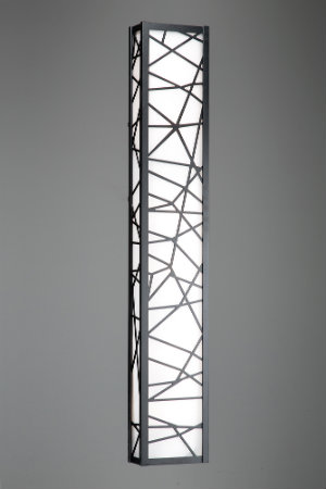This custom vanity fixture boasts an elaborate steel and glass design with a stunning matte black finish.