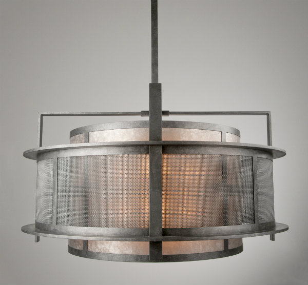 Lines and layers set the stage while woven steel mesh, light mica and an antique nickel finish complete this industrial chic reinterpretation of a basic drum fixture.
