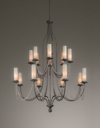 From the Hammerton Chateau collection, a traditional European chandelier silhouette is updated with tumbled rock crystal swag and sleek glass cylinders to complement a broad range of interior styles.