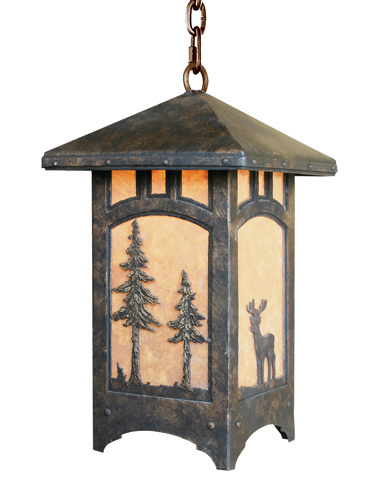 Each panel of this custom Log & Timber lantern features a different image for a unique, custom look.