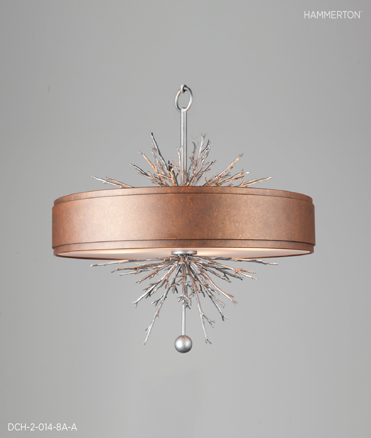 """Two-tone drum, 21""""H x 20""""Dia with organic detail. Antique Copper and Antique Iron finishes.     Fixture: DCH-2-014-8A-A"""