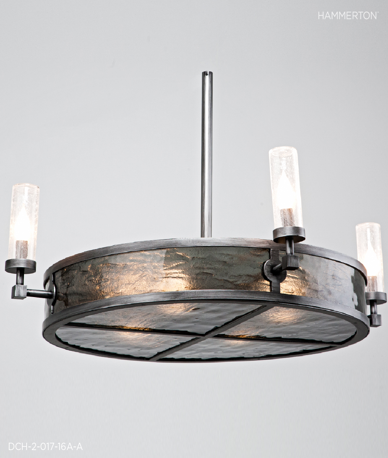 """Candelabra drum, 19"""" OAH x 36""""Dia, with Smoke Granite textured glass lens, Clear Seeded Glass cylinders and Brushed Antique Iron finish.     Fixture: DCH-2-017-16A-A"""