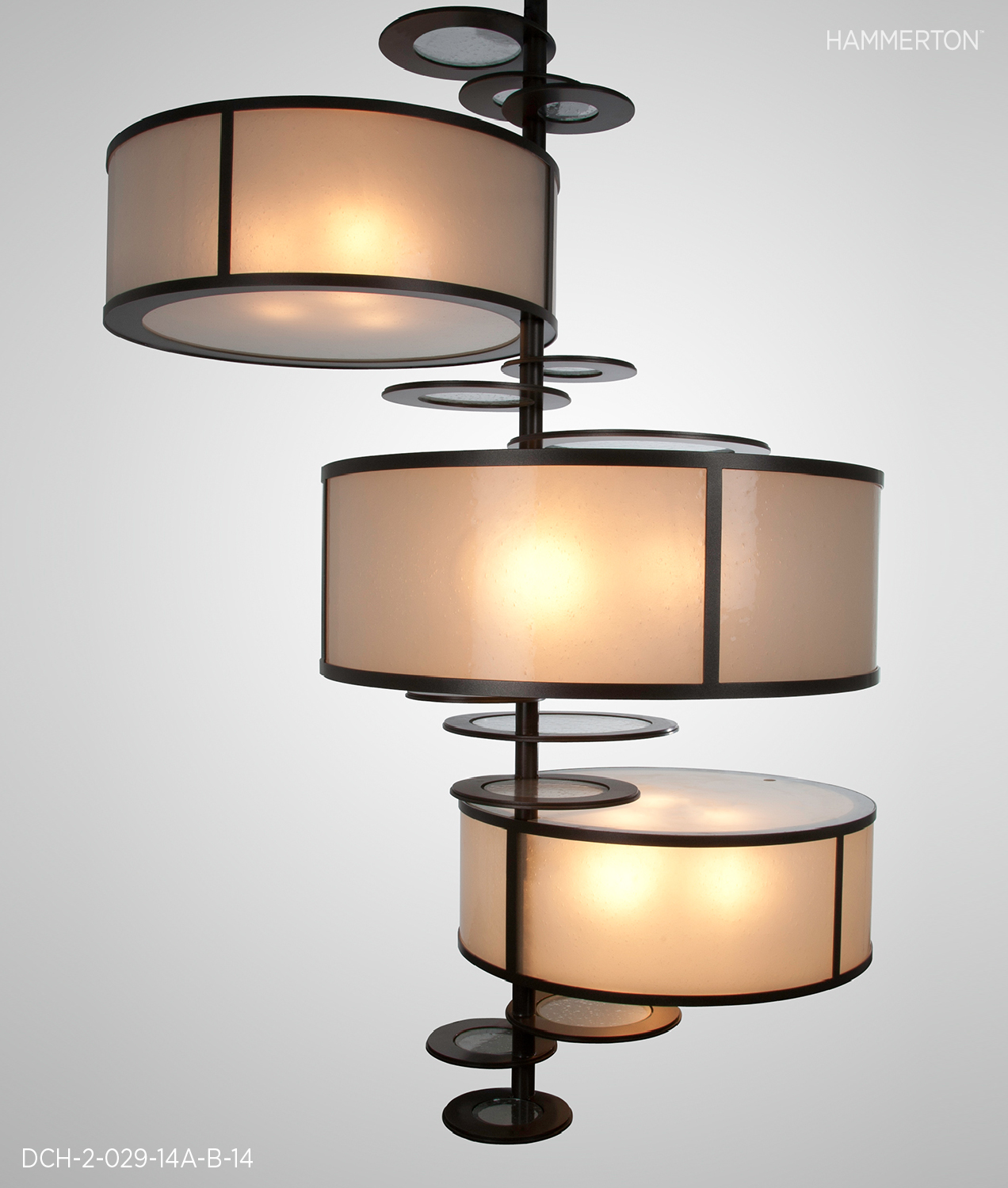 """Modified Contemporary chandelier, 60""""H x 48""""Dia, 264""""OAH, with Frosted Seeded glass diffusers and Seeded Glass ring lenses. Seaside Silver finish.     Fixture: DCH-2-029-14A-B."""