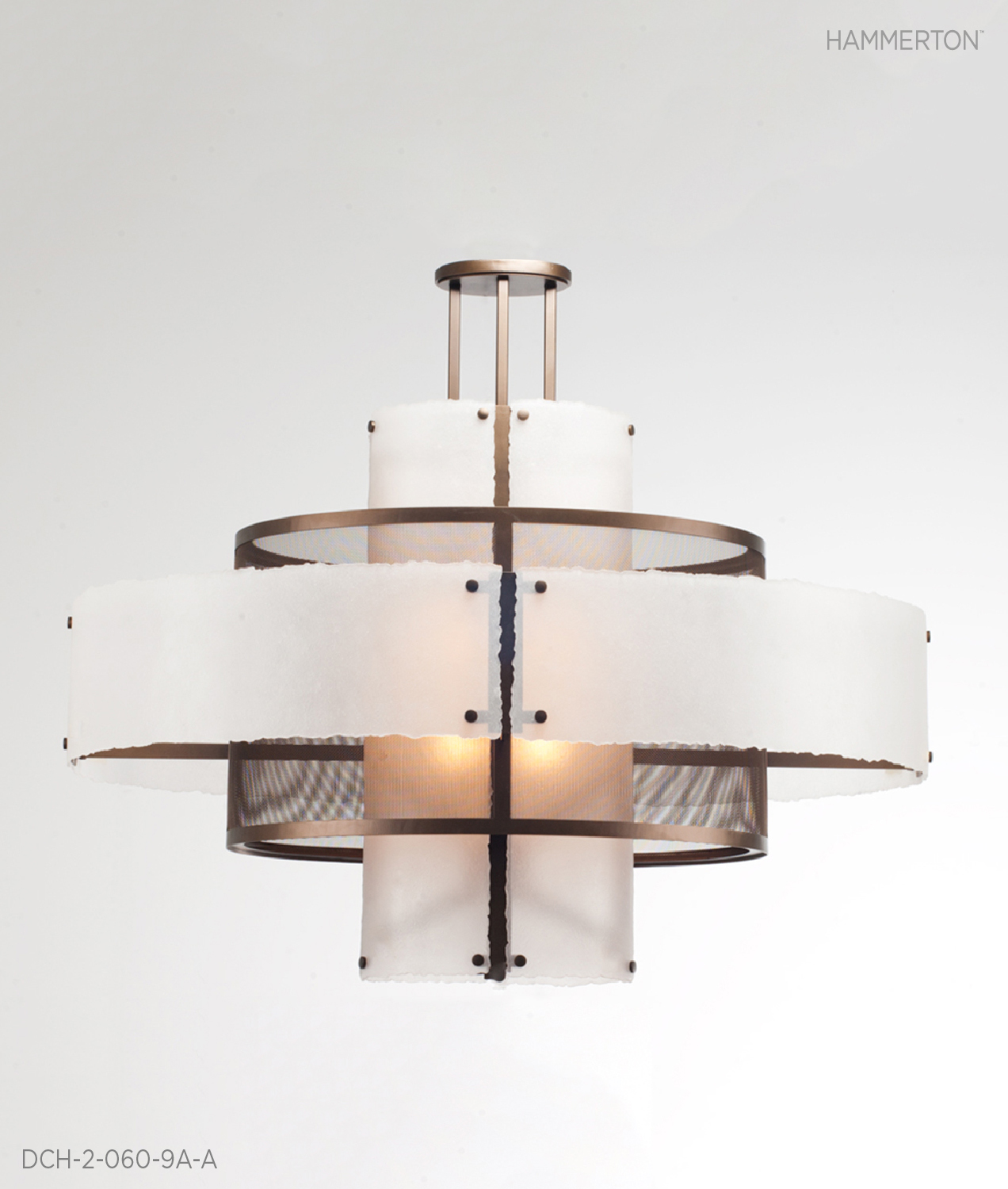 """Triple drum, 55"""" OAH X 54""""Dia in Fine Mesh, Frosted Crystal glass and Flat Bronze metallic finish.     Fixture: DCH-2-060-9A-A"""