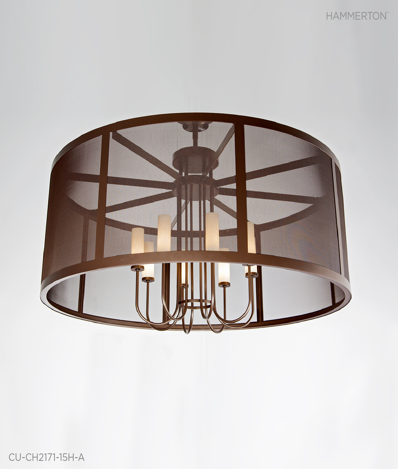 Fine Mesh is the focal point on this contemporary 6 ft dia chandelier featuring eight elegant tall Light blown glass shades. Finish: Tempered Bronze. Designed for Ocean Reef Club,Florida.  Fixture: CU-CH2171-15H-A