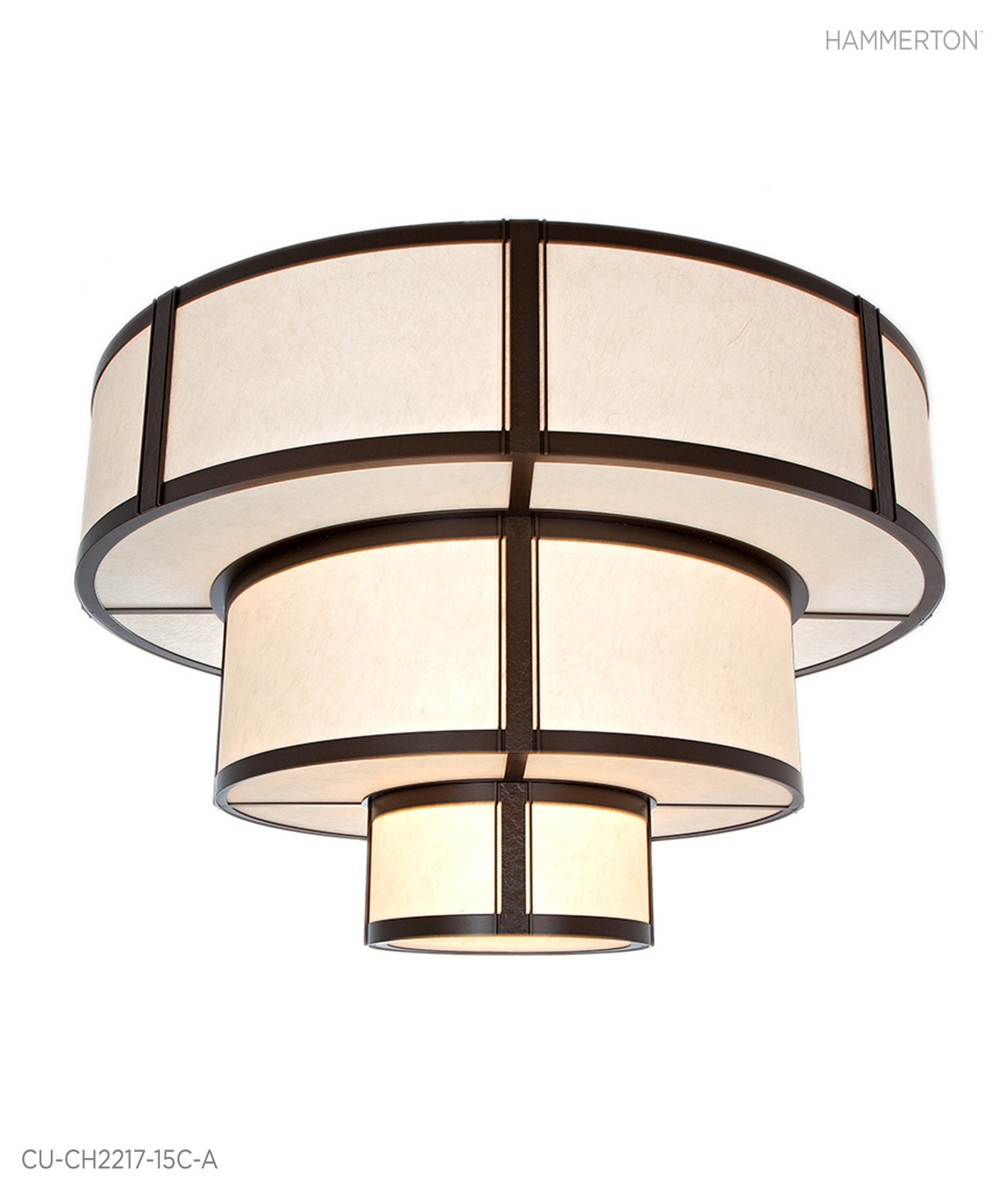 Designed for the Ocean Reef Club in Key Largo, this spectacular 6.5 ft wide multi-drum chandelier sets the tone for elegance.The Washi Cream lens is a stark contrast to the Tempered Bronze Metallic finish.  Fixture: CU-CH2217-15C-A