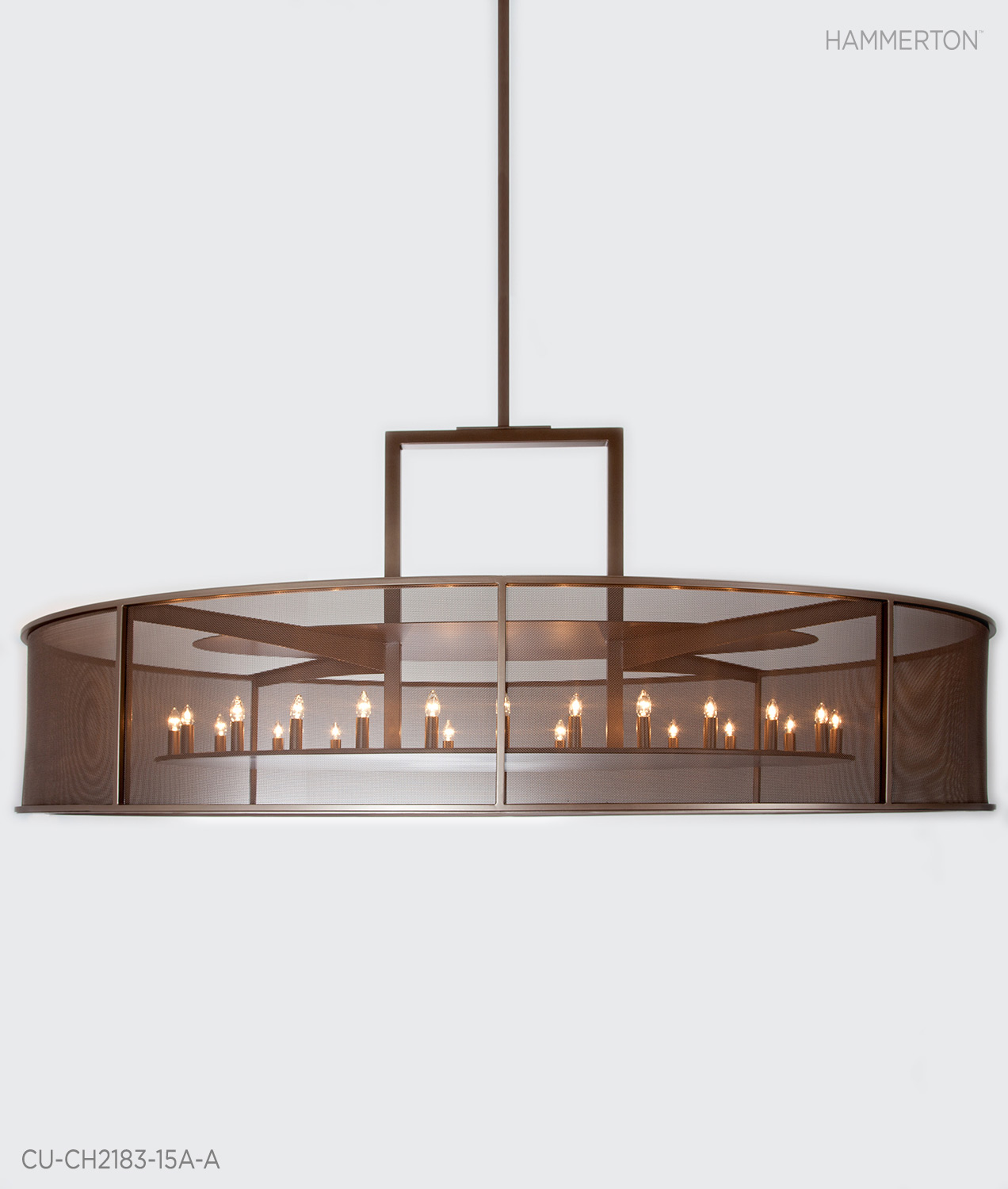 Fine Mesh and 24 exposed candelabra bulbs make a statement with this enormous 10 ft wide contemporary chandelier. Tempered Bronze Metallic Finish. Designed for Ocean Reef Club,Florida.  Fixture:  CU-CH2183-15A-A