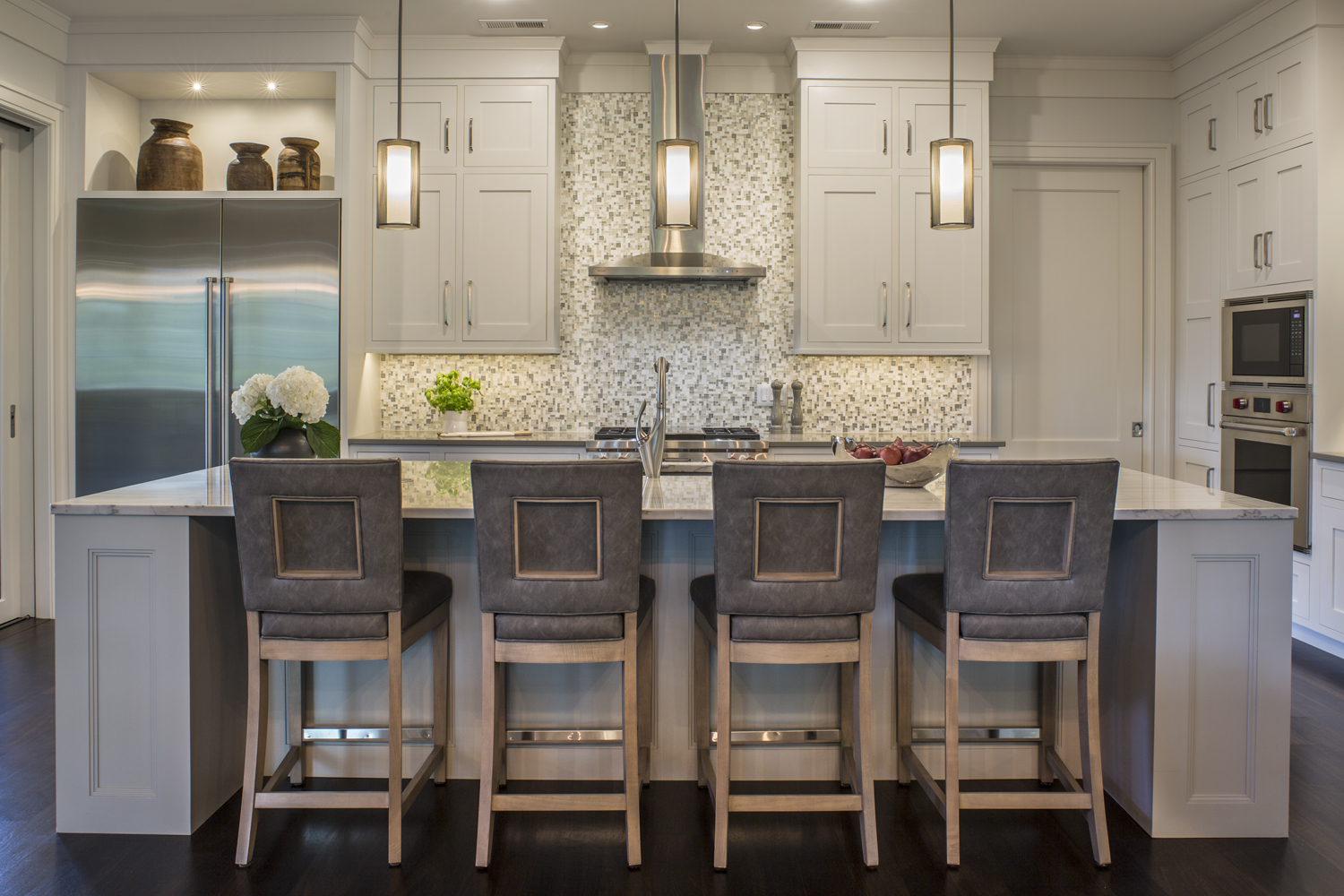 A trio of Hammerton Studio Uptown Mesh pendants in a kitchen designed by Allard & Roberts, Asheville NC