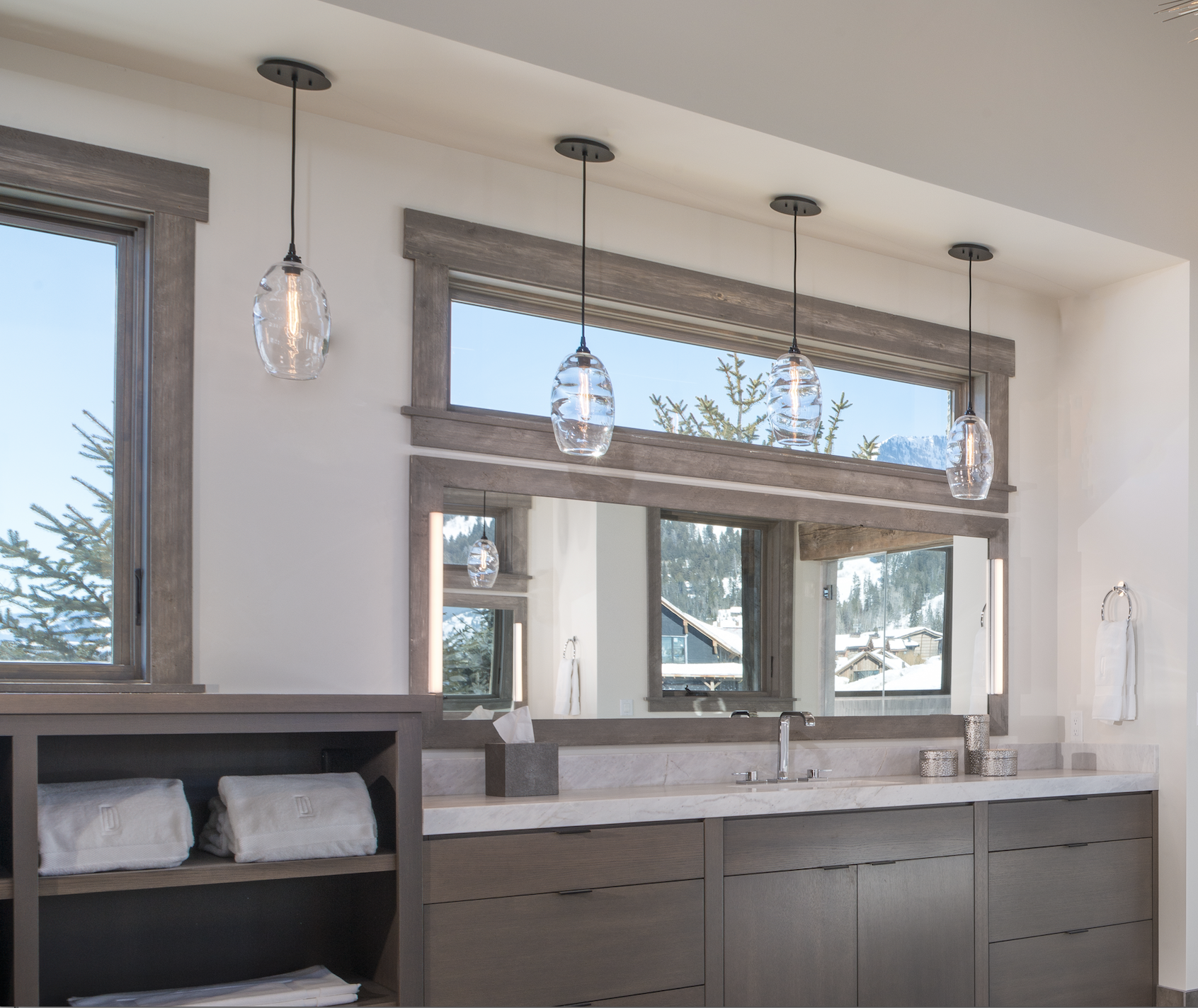 Ellisse optic blown glass pendants by Hammerton Studio in a master bath by KAM Designs l San Ramon CA