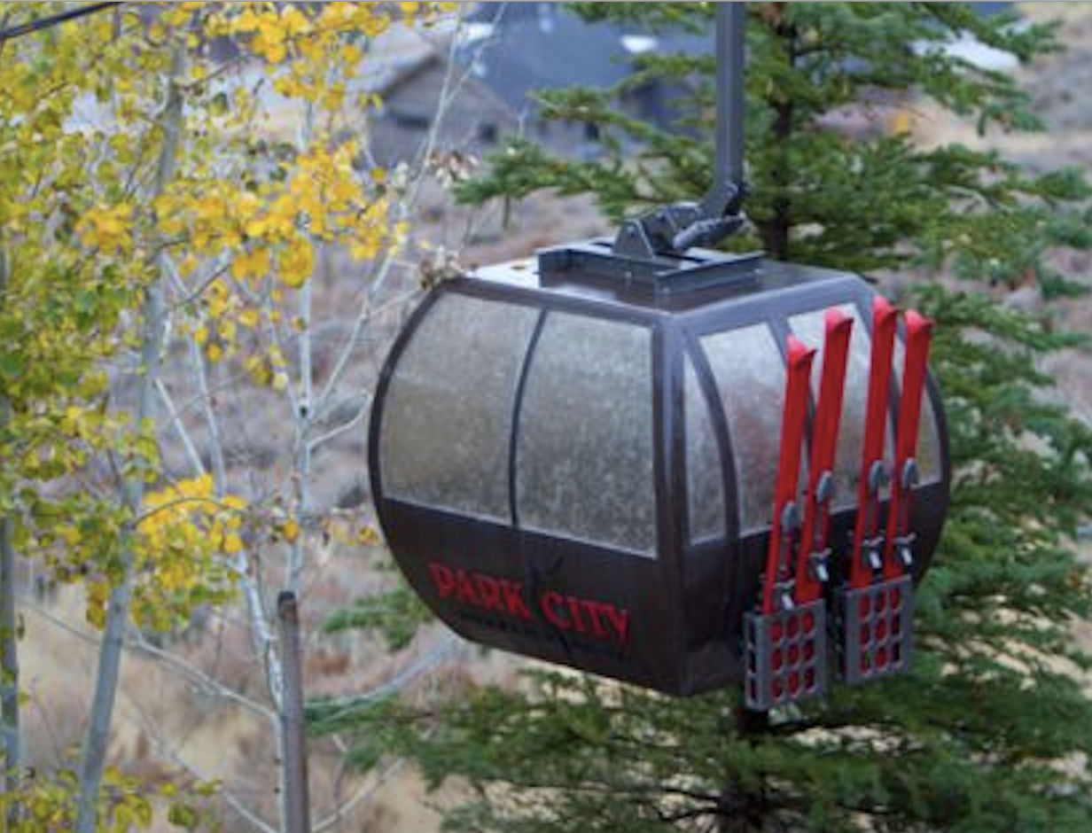 This model gondola at 50% scale illuminates the nighttime backyard of a ski enthusiast in Park City, Utah.