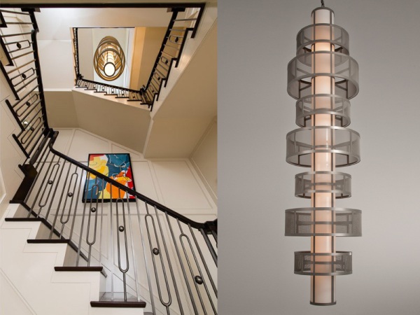 Over ten feet in height, this signature custom pendant in fine mesh graces the stairwell of a Greenwich CT residence. Interior Design by Interior Consultants.