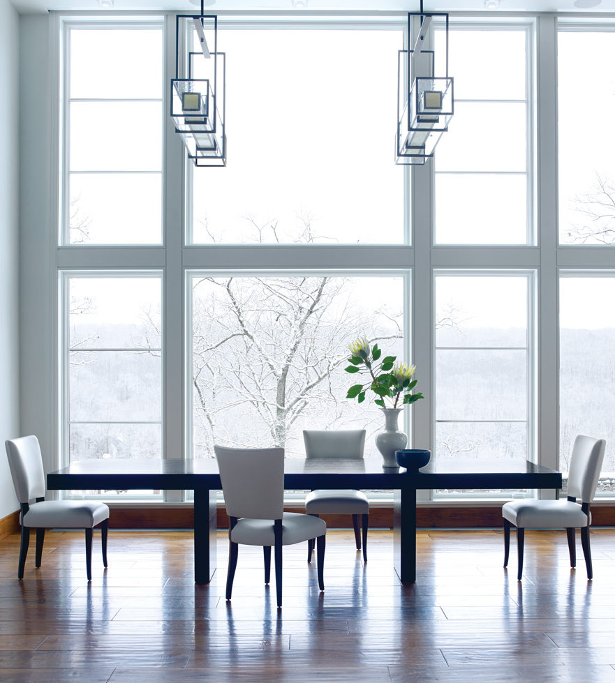A pair of PL2150 linear suspensions in a Washington, CT contemporary farmhouse.